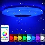 Lámpara de techo led regulable,altavoz RGB con Bluetooth,60W música para dormitorio,con aplicación a distancia,para habitación de los niños, regalo,185-265v,40cm
