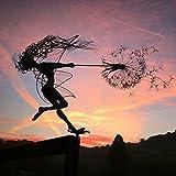 TOPLDSM Flor Fairy Dandelion Garden Metal Crafts, Hada traviesa espíritus Bailando, para su Patio, macetas, césped, macizos de Flores o Patio,D