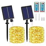 Cadena Luces Solares - 2 Pack 20M/65.6FT 150 LED IP65 Luces Led Solar, 8 Modos con Control Remoto Temporizador Decoración para Jardín, Arboles, Navidad, Fiestas