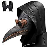 Lifreer Máscara de doctor de la plaga con nariz larga, pico de pájaro steampunk para disfraz de Halloween con un par de guantes