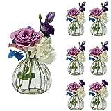 Casavetro - Juego de 6 jarrones pequeños de Cristal (6 Unidades), diseño de Flores