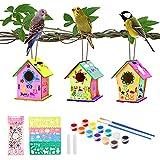 colmanda Casa de Pájaros Madera Manualidades Kit, 3 Pcs Casa pájaros Pintar Bricolaje, DIY Casas de Pájaros con Herramientas de Pintar Juegos Kit Regalo para Niños