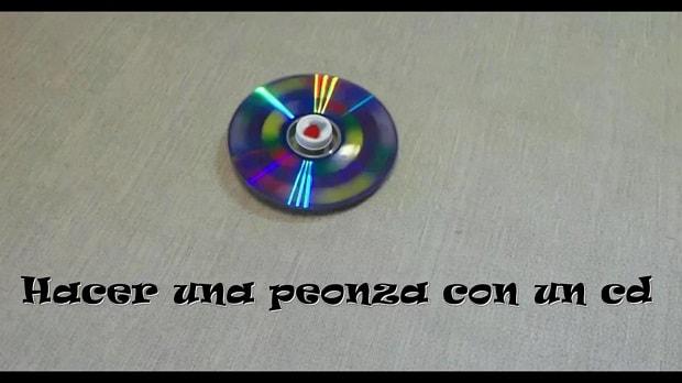 cómo hacer una peonza con un cd