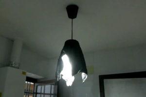 hacer lámpara original de toallla y cemento.